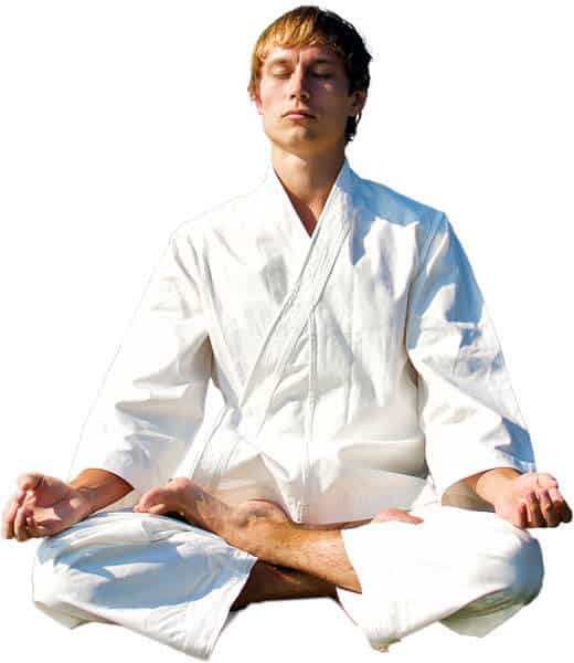 Martial Arts Lessons for Adults in King George VA - Young Man Thinking and Meditating in White