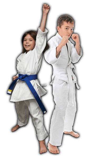 Martial Arts Lessons for Kids in King George VA - Happy Blue Belt Girl and Focused Boy Banner